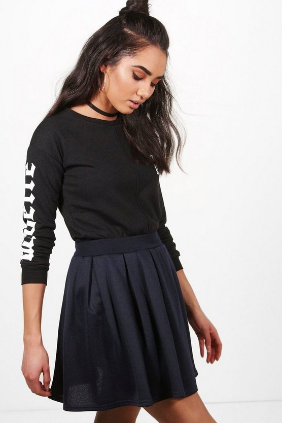 Petite Bethany Pleated Sweat Skater Skirt