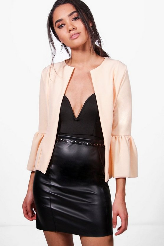 Petite Harriet Ruffle Hem Collarless Jacket