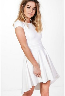 Petite Dana Cap Sleeve Dip Hem Skater Dress
