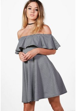 Petite Jodie Off The Shoulder Gingham Skater Dress