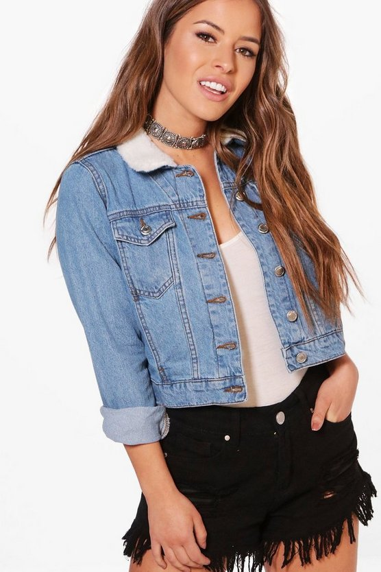 Petite Jasmin Borg Collar Denim Jacket