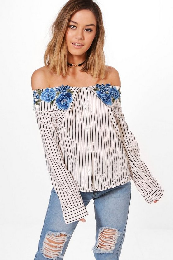 Petite Ava Applique Off The Shoulder Shirt