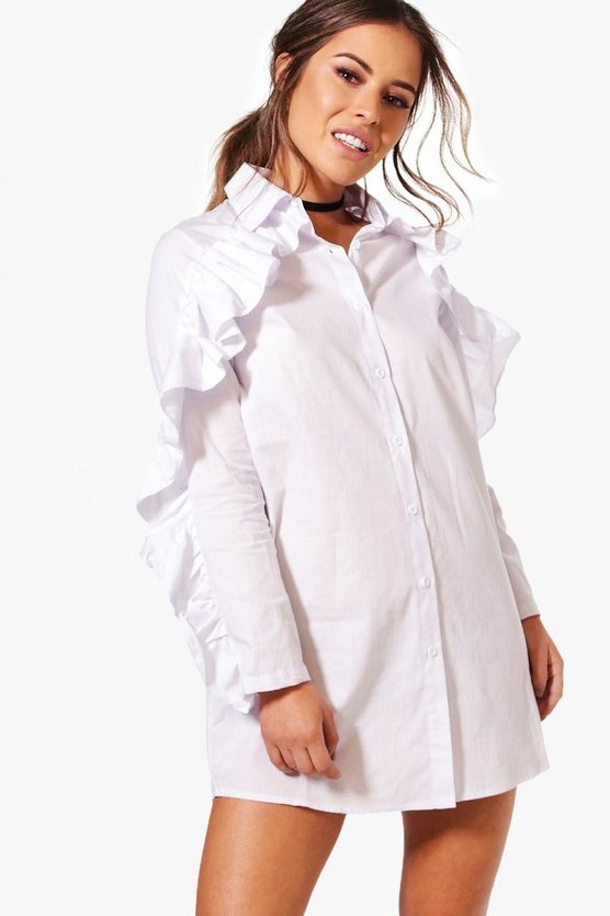 Petite Lana Ruffle Detail Shirt Dress