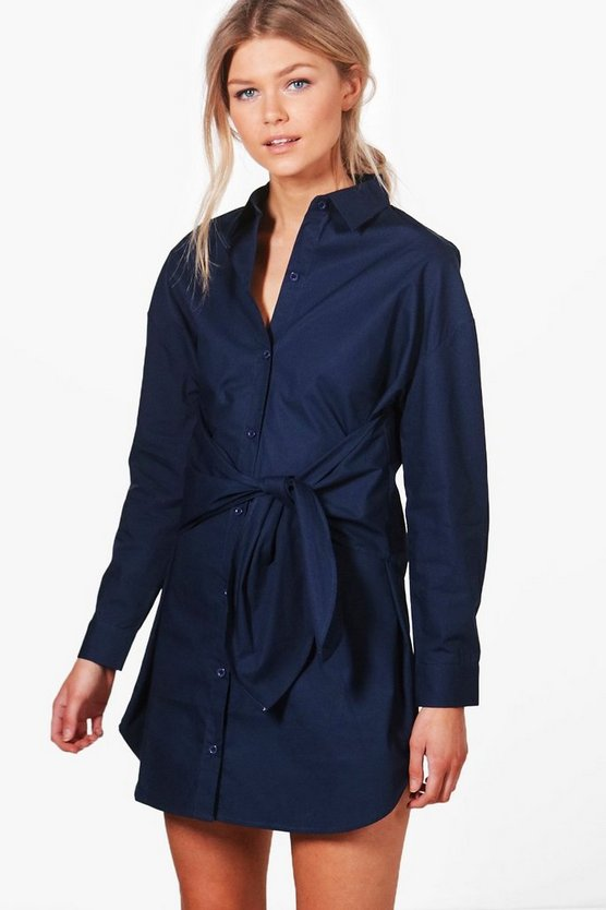 Petite Danielle Tie Waist Shirt Dress