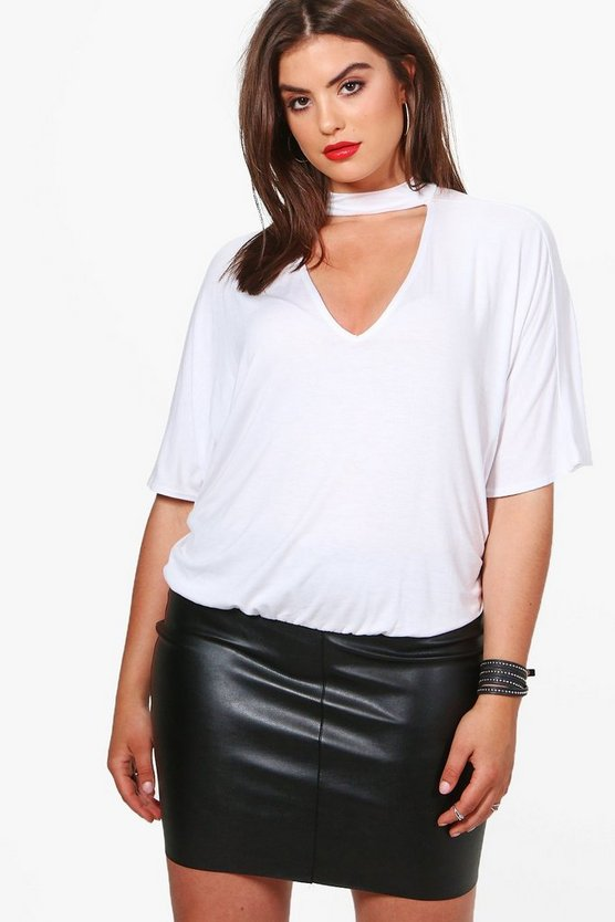 Plus Louise Batwing Choker Detail Top