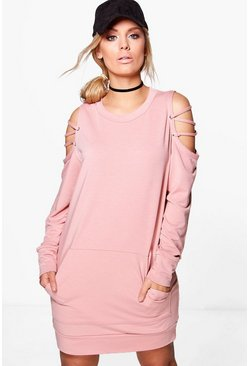 Plus Ella Lace Up Sleeve Pocket Detail Sweat Dress