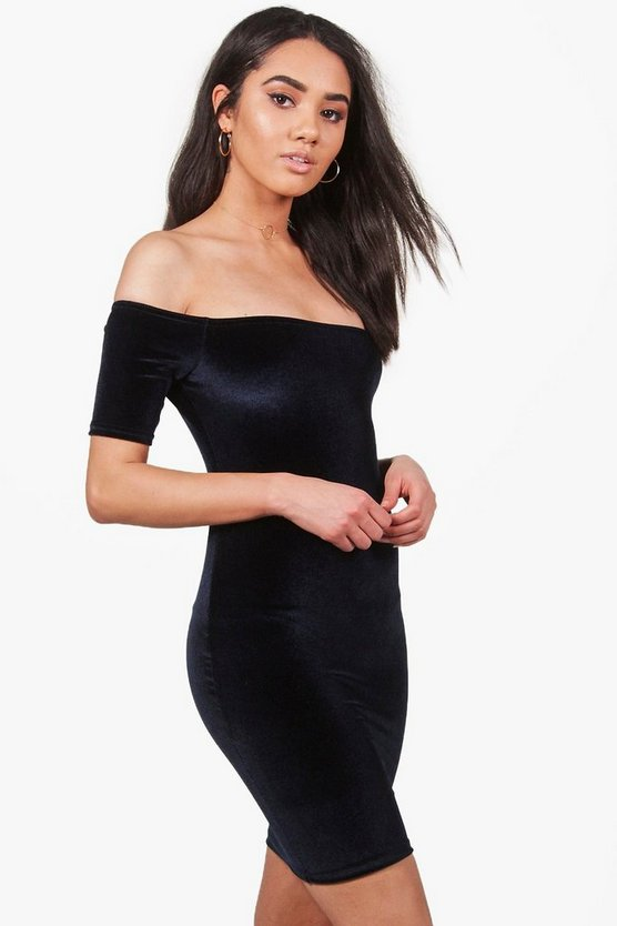 Petite Nadia Velvet Off The Shoulder Dress