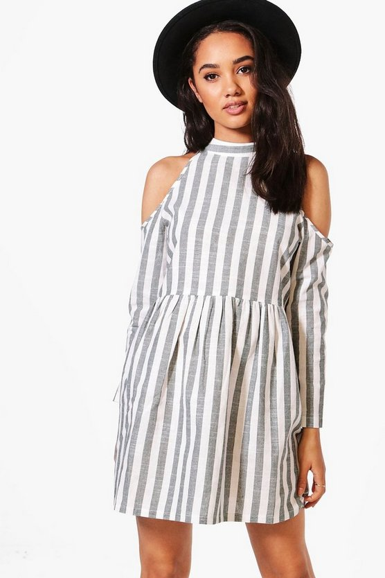 Petite Lily Stripe Open Shoulder Skater Dress