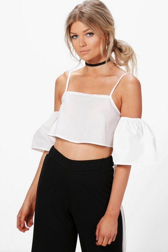 Petite Lucile Woven Off The Shoulder Crop Top