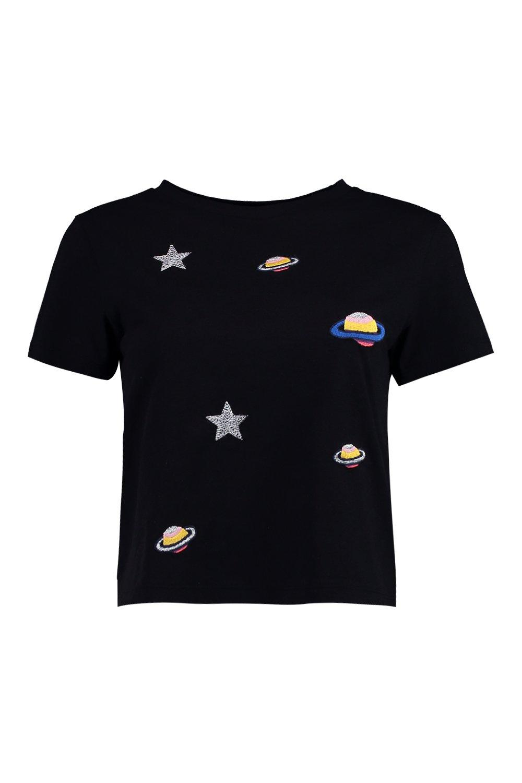 Boohoo-Camiseta-Con-Bordados-Espaciales-Hannah-Petite-para-Mujer
