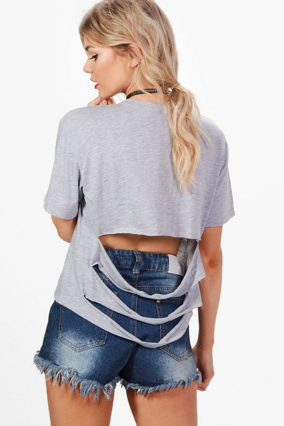 Petite Sara Oversized Slash Back T-shirt