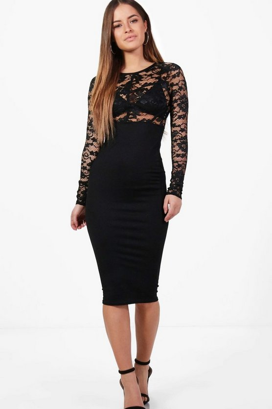 Petite Lizzy Lace Panel Long Sleeve Bodycon Dress