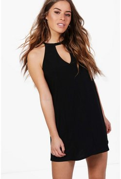 Petite Lorna Tie Neck Cut Out Swing Dress