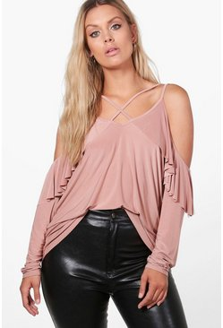 Plus Scarlett Ruffle Open Shoulder Top
