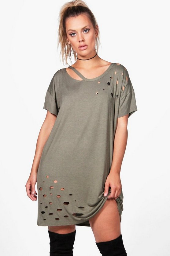 Plus Annie Distressed Cut Out T-shirt Dress
