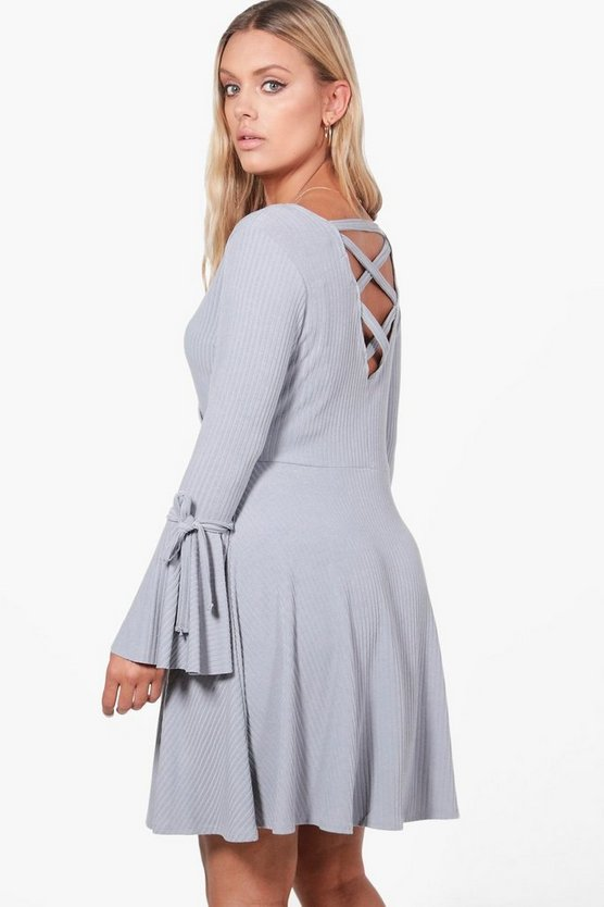 Plus Olivia Cross Back Ribbed Skater Dress