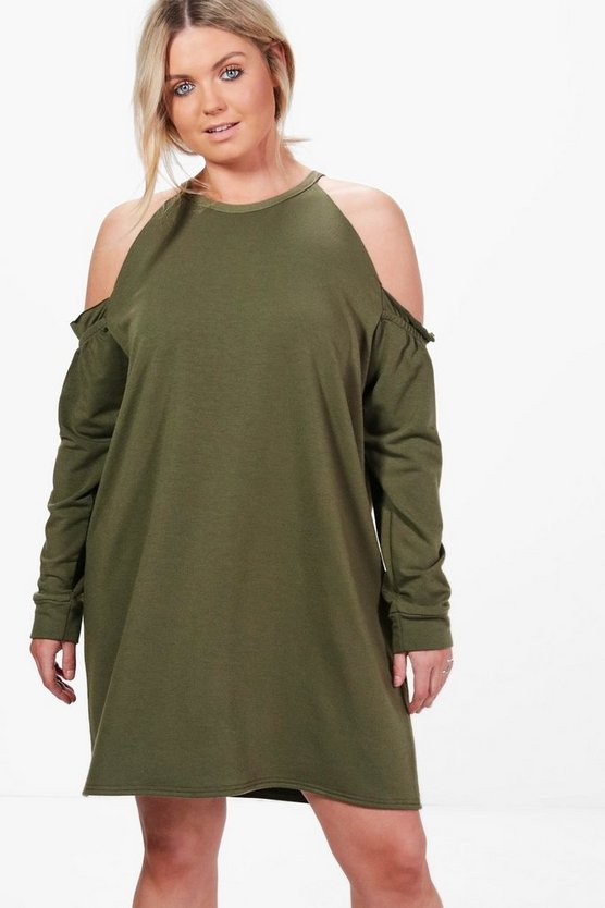 Plus Juliette Open Shoulder Sweat Dress