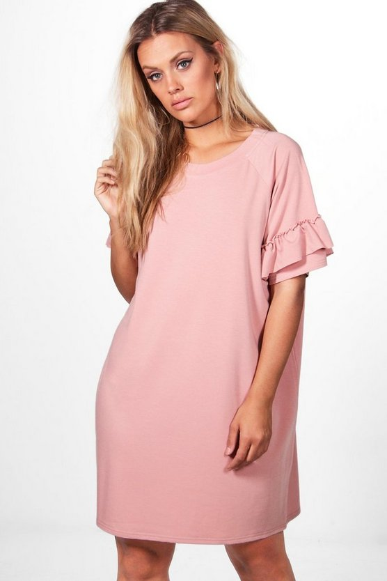 Plus Katy Frill Detail T-shirt Dress