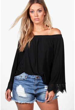 Plus Emma Off The Shoulder Crochet Trim Top