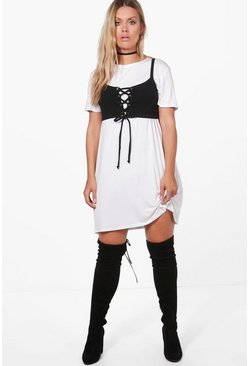 Plus Katie Bralet Detail T-shirt Dress
