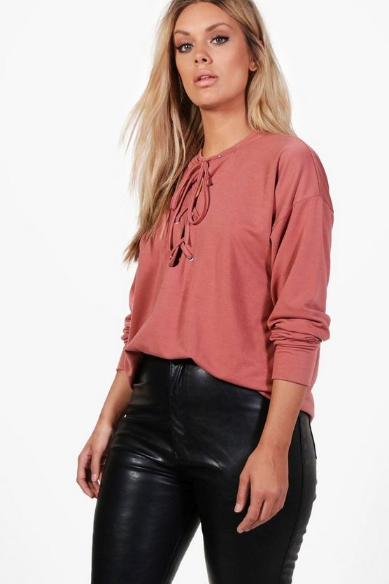 Plus Annie Eyelet Tie Sweat Top