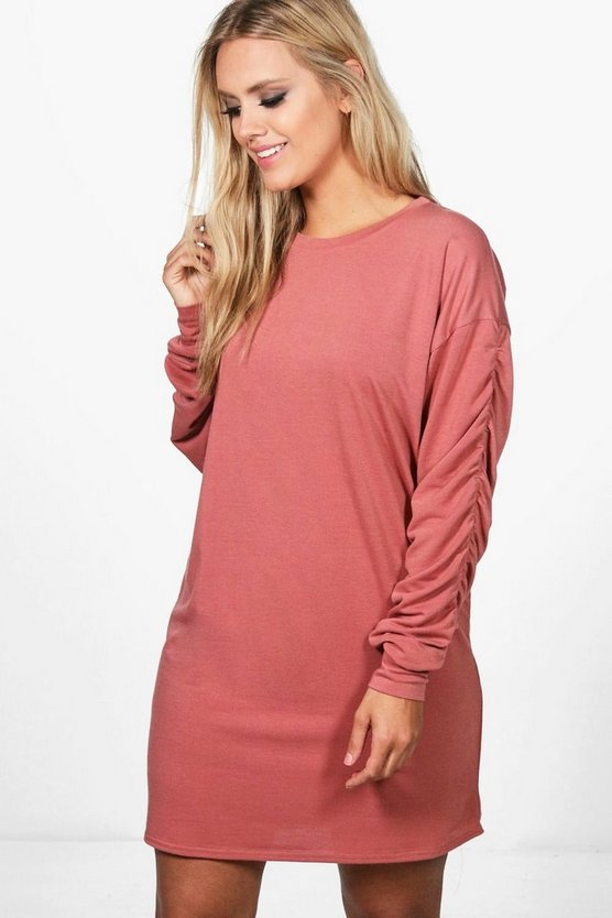 Plus Libby Ruched Sleeve Oversized Sweat Dress