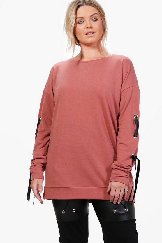Plus Kelly Lace Up Sleeve Sweat