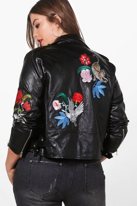 Plus Emily Embroidered PU Jacket
