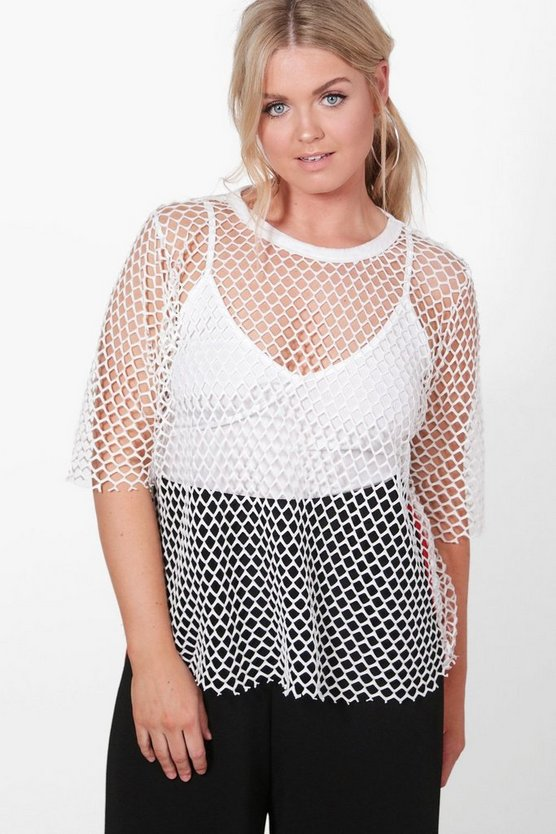 Plus Bethany Fishnet Oversize Tee
