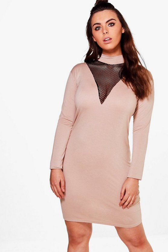 Plus Olivia High Neck Mesh Insert Bodycon Dress