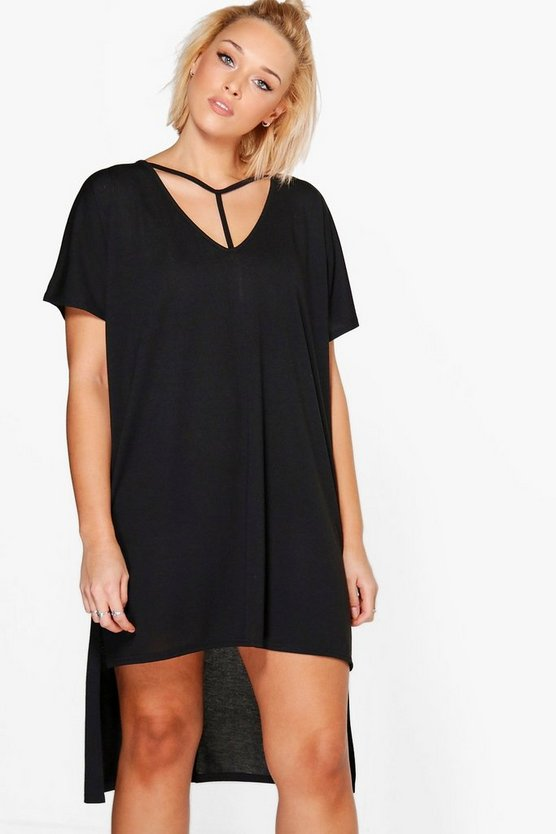 Plus Sara Strap Detail Dip Hem Tunic Dress