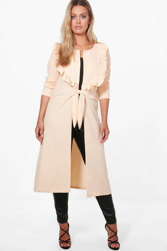 Plus Sophie Ruffle Front Duster Jacket