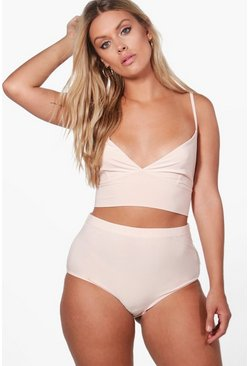Plus Eve Slinky Triangle Bralet and Hot Pant Set