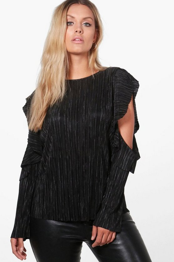 Plus Kate Crinkle Ruffle Cold Shoulder Top