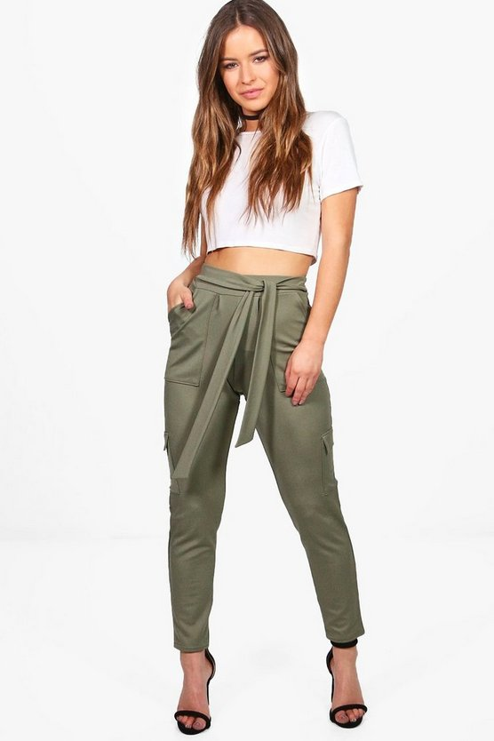 Petite Side Pocket Tie Waist Trouser