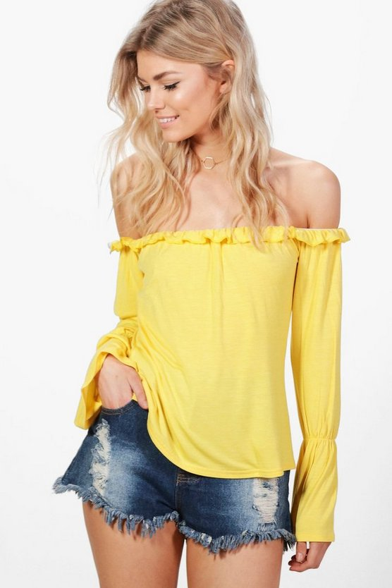 Petite Ivy Ruffle Off The Shoulder Top