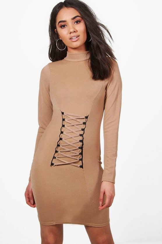Petite Ann Eyelet Detail Long Sleeve Bodycon Dress