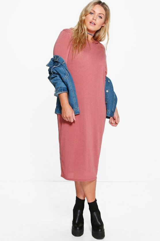 Plus Rachel Cut and Sew Knitted Midi Sweat Dress