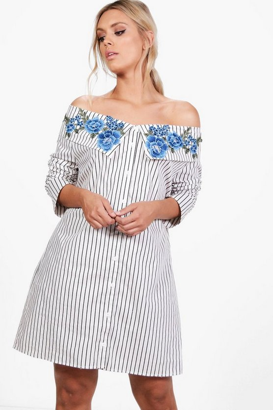 Plus Sarah Striped Embroidered Shirt Dress