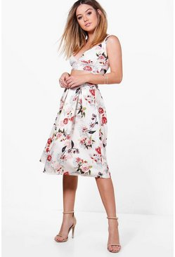 Petite Amelia Floral Bralet and Midi Skirt Co-Ord