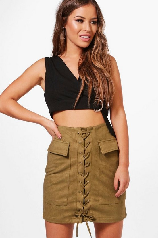 Petite Molly Lace Up Front Utility Skirt