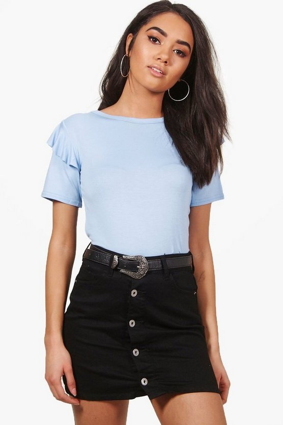Petite Anna Frill Shoulder Oversized Tee