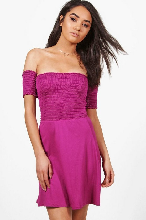 Petite Lottie Shirred Off The Shoulder Skater Dress