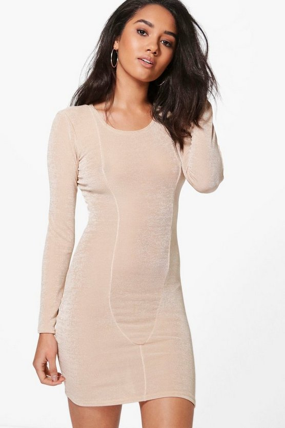 Petite Louisa Long Sleeve Panel Bodycon Dress