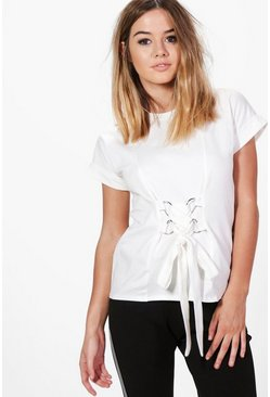 Petite Lisa Lace Up Waist Detail Tee