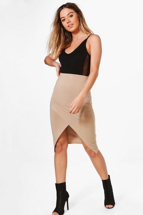 Petite Willow Jersey Wrap Midi Skirt