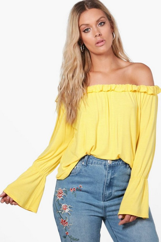 Plus Holly Ruffle Flared Sleeve Off The Shoulder Top