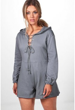 Plus Robyn Lace Up Sweat Playsuit