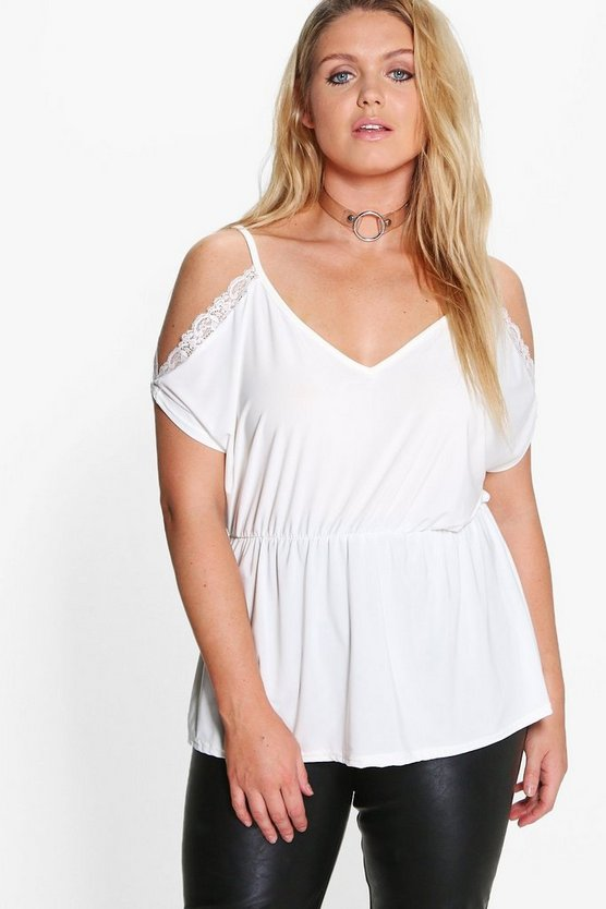 Plus Lauren Lace Detail Open Shoulder Slinky Top