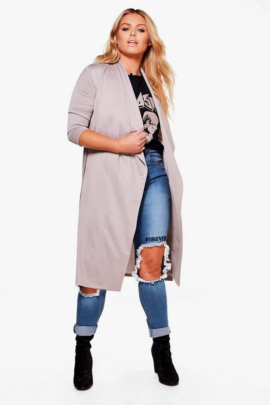 Plus Caitlin Wrap Tie Waist Trench Coat